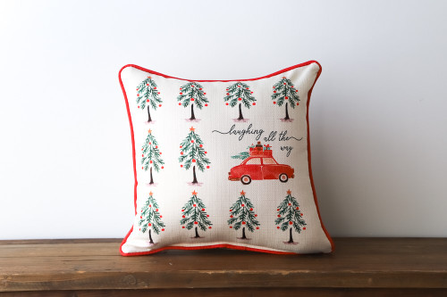Laughing All The Way with Car at the Christmas Tree Farm Square Pillow