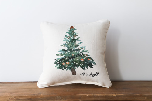 All Is Bright with Watercolor Style Christmas Tree - Square Pillow
