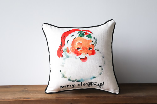 Merry Christmas with Watercolor Vintage Style Santa Claus- Square Pillow