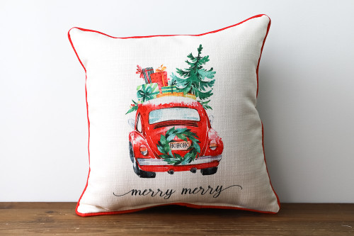 Merry Merry with Cute Red Christmas Car - Square Pillow