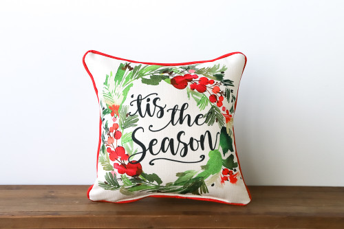 'Tis The Season with Holiday Wreath - Square Pillow