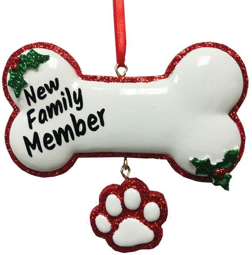 "New Family Member Dog Cat Personalized Ornament Resin 4"" White Bone With Paw"