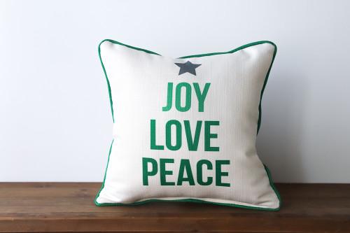 Joy Love Peace Tree - Christmas Square Pillow