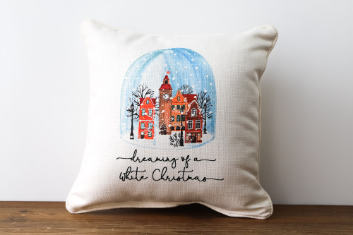 Dreaming Of A White Christmas with Snow Globe - Square Pillow