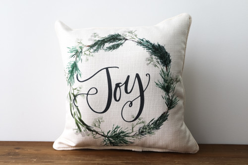 Joy with Wreath - Square Pillow