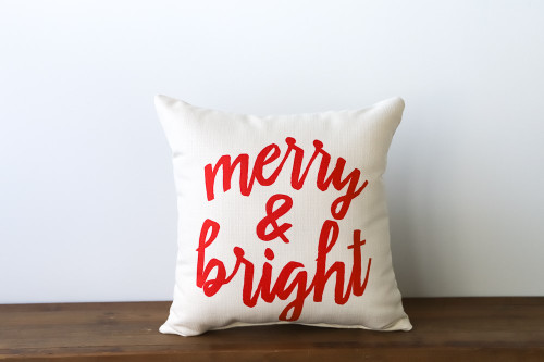 Merry & Bright - Christmas Square Pillow