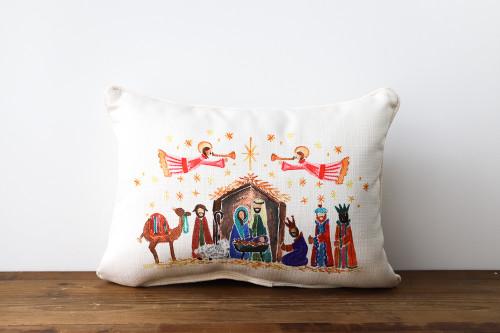 Nativity Scene - Christmas Rectangle Pillow