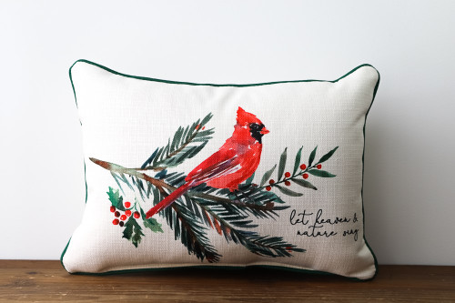 Let Heaven & Nature Sing with Cardinal on a Branch - Christmas Rectangle Pillow