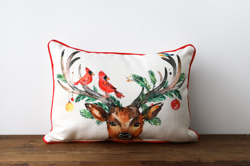 Deer with Cardinals and Ornaments on the Antlers - Christmas Rectangle Pillow