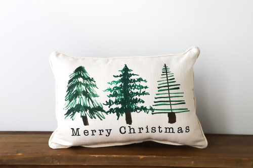 Merry Christmas with Christmas Trees Rectangle Pillow