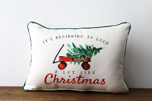 It's Beginning To Look A Lot Like Christmas with red wagon and Christmas tree Rectangle Pillow