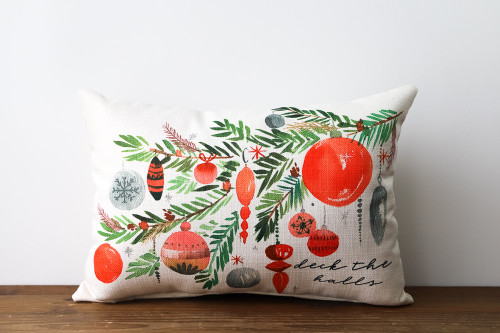 Deck The Halls with Tree Branch Filled With Christmas Ornaments - Rectangle Pillow