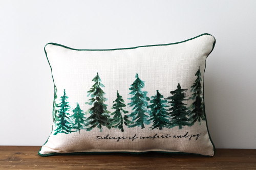 Tidings Of Comfort And Joy with Forest of Pine Trees - Rectangle Pillow