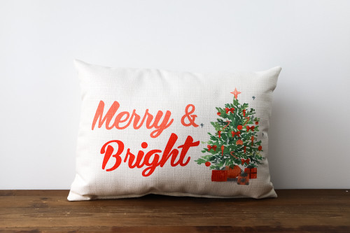 Merry & Bright with Christmas Tree and Presents - Rectangle Pillow