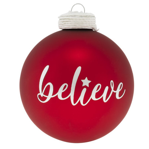 Believe Red Round Ornament