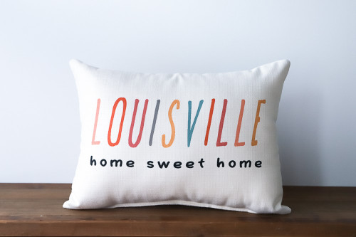[Custom Town Name] Home Sweet Home Colorful Rectangle Pillow