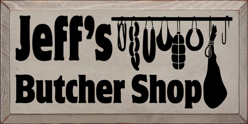 9x18 Putty board with Black text  Jeff's Butcher Shop