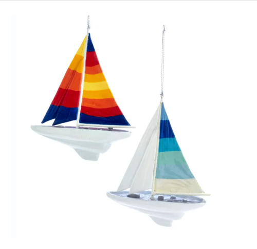 "Set of Two Colorful Sailboat Personalized Christmas Ornaments 5 inch H x 4"" Wide hanging From Silver Cord."