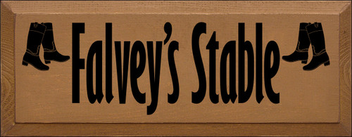 7x18 Toffee board with Black text  Falvey's Stable