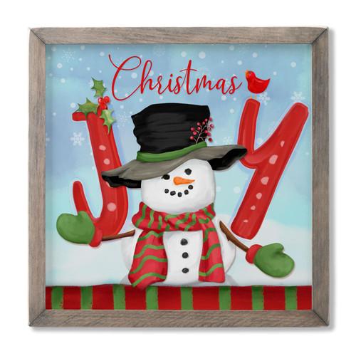 Christmas Joy with Cute Snowman - Framed Wooden Sign 13x13