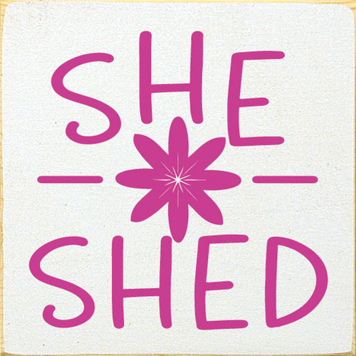 She Shed with Flower Sign