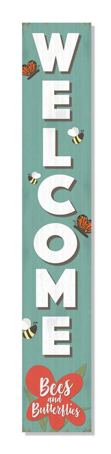 Outdoor Welcome Sign For Porch - Bees and Butterflies - Vertical Porch Board 8x47
