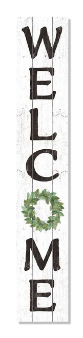 Outdoor Welcome Sign - White with Green Wreath - Vertical Porch Board 8x47