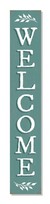 Outdoor Welcome Sign - Seafoam Green - Vertical Porch Board 8x47