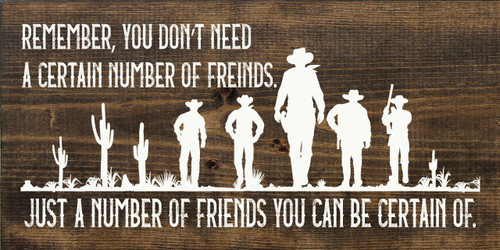 Remember, You Don't Need A Certain Number Of Friends. Just A Number Of Friends You Can Be Certain Of. Wooden Sign