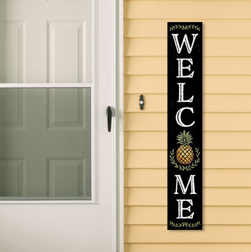 Outdoor Welcome Sign - Black with Pineapple - Vertical Porch Board 8x47