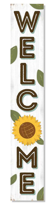 Outdoor Sign - Welcome - White with Sunflower - Vertical Porch Board 8x47