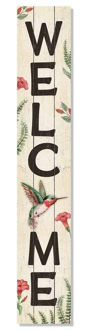 Outdoor Sign - Welcome - Hummingbird - Vertical Porch Board 8x47