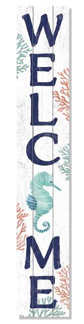 Outdoor Sign - Welcome - Seahorse - Vertical Porch Board 8x47