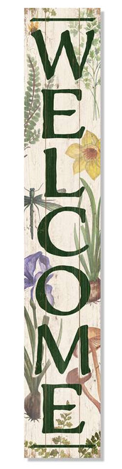 Outdoor Sign - Welcome - Botanical Style - Vertical Porch Board 8x47