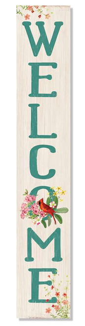 Outdoor Sign - Welcome - Teal Letters With Cardinal and Flowers - Vertical Porch Board 8x47