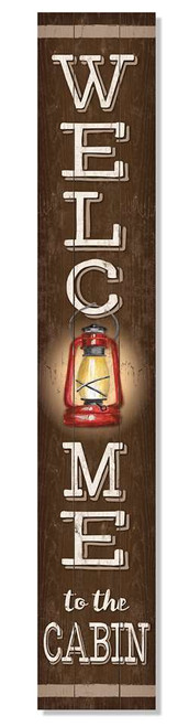 Outdoor Sign - Welcome To The Cabin with Lantern - Vertical Porch Board 8x47