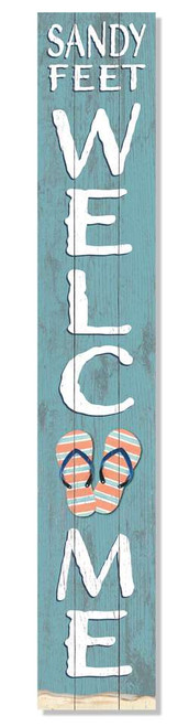 Outdoor Sign - Sandy Feet Welcome with Flip Flops - Vertical Porch Board 8x47