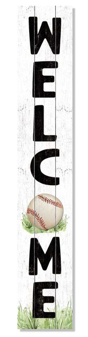 Outdoor Sign - Welcome with Baseball - Vertical Porch Board 8x47