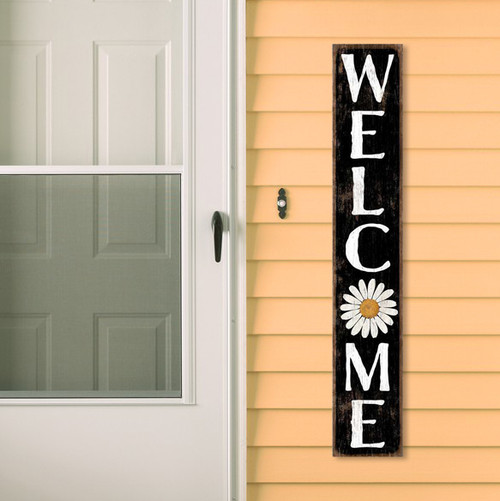 Outdoor Sign - Welcome - Black With White Daisy - Vertical Porch Board 8x47