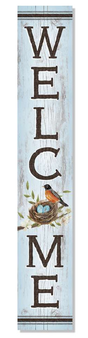 Outdoor Sign - Welcome - Robin & Eggs - Vertical Porch Board 8x47