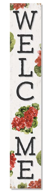 Outdoor Sign - Welcome - Geranium - Vertical Porch Board 8x47