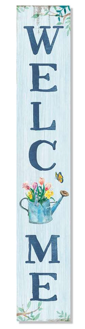 Outdoor Sign - Welcome - Blue With Flowers in Watering Can - Vertical Porch Board 8x47