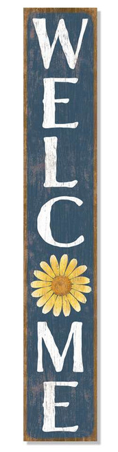 Outdoor Sign - Welcome - Blue With Yellow Daisy - Vertical Porch Board 8x47