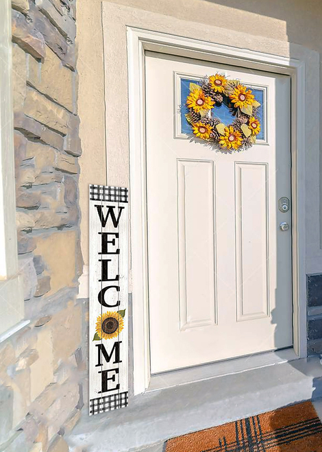 Outdoor Sign - Welcome - Black and White Check With Sunflower - Vertical Porch Board 8x47