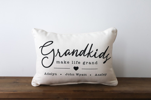 Grandkids Make Life Grand with Custom Kids Names Rectangle Pillow