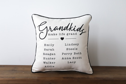 Grandkids Make Life Grand with Custom Kids Names Square Pillow