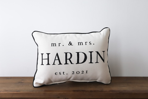 Custom Mr. And Mrs. With Established Year Rectangle Pillow