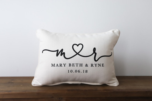 Connected Heart Custom Couples Names with Anniversary Date Rectangle Pillow