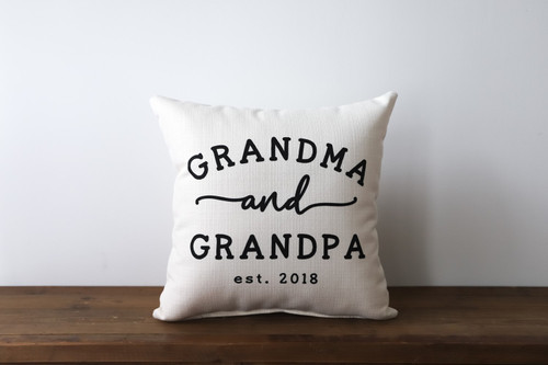 Grandma and Grandpa with Established Year Square Pillow
