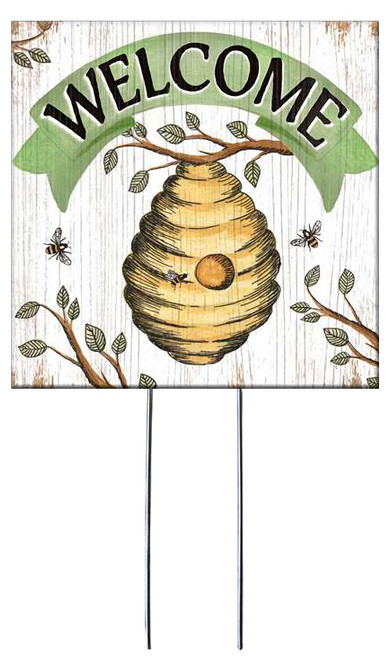 Welcome with Beehive - Square Outdoor Standing Lawn Sign 8x8